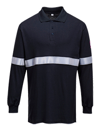 Portwest Flame Resistant Anti-Static Long Sleeve Polo Shirt with Reflective Tape (FR03)