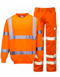 Hi-Vis Orange Sweatshirt & Trousers Bundle (B303-PR336)