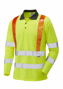 Leo Bickleton ISO 20471 Class 3 Orange Brace Coolviz Sleeved Polo Shirt (P07-Y)