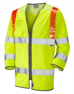 Leo Taddiport ISO 20471 Class 3 Orange Brace 3/4 Sleeve Waistcoat (S14-Y)