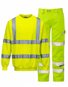 Hi-Vis Yellow Sweatshirt & Trousers Bundle (B303-P346)